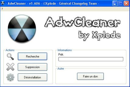 interface utilitaire adwcleaner