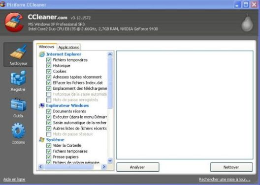 interface accueil ccleaner